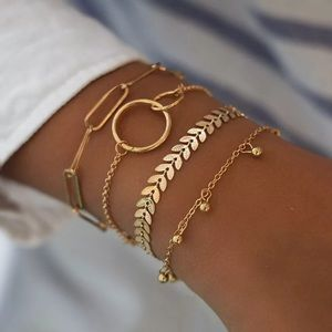 Set of 4 Stainless Steel Dainty Gold Bracelet Set